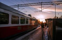 Going to work (banniina) Tags: city morning sunlight beautiful train sunrise finland early helsinki february juna huopalahti junaasema auringonnousu helmikuu