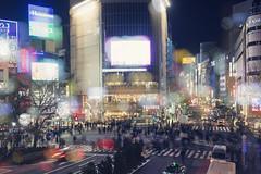 Shibuya Night ([~Bryan~]) Tags: street city longexposure people urban reflection japan night tokyo cityscape crossing traffic bokeh crowd shibuya neonlights zebracross jrstation