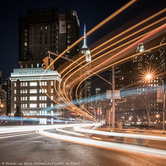Fifth and Broadway (DSC00064) (Michael.Lee.Pics.NYC) Tags: longexposure newyork night sony broadway esb empirestatebuilding fifthavenue madisonsquarepark lighttrail flatirondistrict traffictrail zeissbatis25mmf2 a7rm2