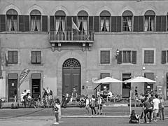 An outing on Piazza de' Pitti (bvi4092) Tags: city travel urban blackandwhite bw italy building architecture umbrella photoshop florence nikon europe day arch exterior noiretblanc piazza nikkor rectangle palazzopitti piazzadepitti d300s 18105mmf3556 nikon18105mmf3556