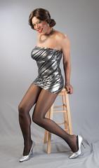 Tight, Short & Shiny! (kaceycd) Tags: pumps highheels s tgirl transvestite stilettoheels cleancut pantyhose strapless crossdress spandex lycra tg minidress wetlook platino tubedress sexypumps