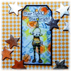 Arttag Star light, star bright (Stampinkie) Tags: stencils tag rubberstamping arttag tagart distressink stampotique