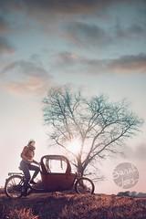 077.366.ma (Sarah Joos) Tags: portrait woman tree nature bike clouds self sunburst selfie cargobike starburs