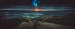 Watching Another Day Pass (Fluid Light Images) Tags: ocean beach composite stars star sandiego sony sunsetcliffs sonyalpha a7r sel28f20 fe28mm