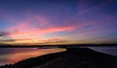 Nearly missed it (lizcaldwell72) Tags: light sunset newzealand sky moon water napier hawkesbay ahuriri pandorapond