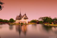 Temple II (M. Ali Changezi) Tags: longexposure landscape thailand temple outdoor dusk bluehour goldenhour samutprakan ancientcity march2016