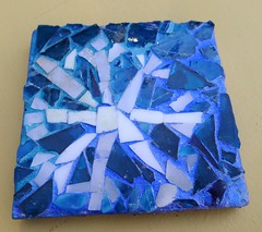 ALC student art: mosaic snowflake coaster- 1 of 3 (Sarabbit) Tags: snowflake blue camp art glass work square student recycled mosaic camper shards alc coater