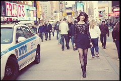 Vintage Dress in Times Square (TheFiftyPercentFashionista) Tags: nyc vintage hair prada mua botties timessqure vintagedress lacedress isabelladavid laceupbooties