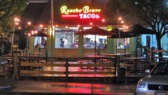 My Colorful Neighborhood (2) (sea turtle) Tags: seattle light red color reflection wet rain night evening pavement tacos neighborhood rainy taco capitolhill drizzly drizzle ranchobravo thisbuildingusedtobethekentuckyfriedchicken ranchobavotacos