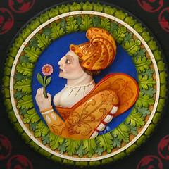 29 Woman in masquing costume (Leo Reynolds) Tags: xleol30x squaredcircle panasonic lumix fz1000 ceiling head medallion wood carving sqset128 xx2016xx sqset