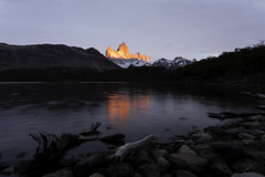 Alpenglow From Laguna Capri (surfneng) Tags: patagonia mountain lake reflection southamerica argentina sunrise fitzroy alpenglow chalten lagunacapri