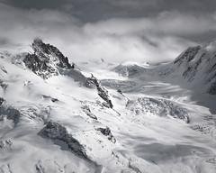Alps. Glacier du Mont Rose... (Is_Anybody_Out_There...?) Tags: winter bw mountain snow alps monochrome montagne landscape schweiz switzerland blackwhite nikon suisse zermatt nikkor nuage paysage valais noirblanc isanybodyoutthere