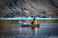 Hi Ho the Derry-O, A Fishing We Will Go (Kevin_Jeffries) Tags: newzealand mountain lake holiday reflection nature water fishing nikon focus scenery dof zoom hill scenic deep canoe depthoffield 300mm adventure recreation wanaka depth lakewanaka canadiancanoe d90 glendhubay kevinjeffries