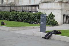three sleepers (aka Jon Spence) Tags: london cone trafalgarsquare nationalgallery asleep trafficcone londonist