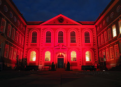 Bluecoat Chambers in Red (.annajane) Tags: uk light red england architecture liverpool memorial dusk courtyard projection hillsborough merseyside bluecoat schoollane bluecoatchambers