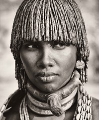 Hamer Woman, Ethiopia (Rod Waddington) Tags: africa portrait people monochrome costume african traditional culture tribal afrika omovalley ethiopia tribe ethnic cultural hamar hamer ethnicity afrique ethiopian omo thiopien etiopia ethiopie etiopian omoriver