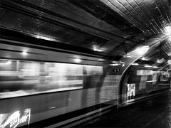 Ghost Train (real ramona) Tags: madrid urban bw abandoned monochrome station train underground metro ghost estacion deserted chamberi anden0 andncero