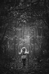 Hide and Seek (Kapuschinsky) Tags: trees blackandwhite monochrome leaves childhood mystery forest woods moody child minolta pennsylvania candid branches fineart hike hideandseek explore mysterious paths magical curiosity emotive pathways theunknown sonyalpha sonya700 sonyphotographing monochromaticfineart candidchildhood moodybnw