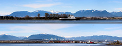 180 of Northern Mountains (Split Panorama) (A.G. Buron Photography) Tags: mountains vancouver northvancouver fraserriver mountians vancouverbc northshoremountains richmondbc northvancouvermountains seaspanferryprincesssuperior