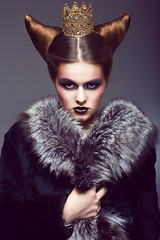 Nobility. Honorable Princess with Golden Crown. Creative Concept (noor.khan.alam) Tags: woman beauty fashion proud female vintage dark hair fur person gold golden model shiny adult bright princess coat creative young royal makeup hairdo style jewelry retro queen glossy fox trendy crown mascara concept horn belarus jewels hairstyle luxury glamor arrogance noble classy coiffure severe duchess strict honorable styled aristocracy finery nobility