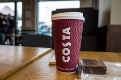 The Match Day Latte (jason_hindle) Tags: manchester unitedkingdom whitecity latte oldtrafford costacoffee belgianbrownie
