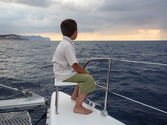 Quiet moment (iswimintime) Tags: ocean famille sea nature boat clothing spain moments sailing outdoor ibiza casual meditation espagne idyllic pays activites illesbalears santjoandelabritja