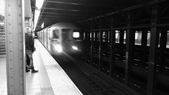 on time (vfrgk) Tags: nyc people urban blackandwhite bw monochrome station train subway lightandshadows citylife rail transportation mta urbanlife urbanphotography urbanfragment