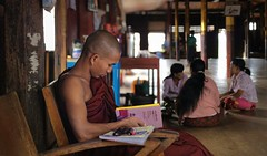 Reading the Ten Great Birth Stories of the Buddha at home of the monastery (Bn) Tags: trip houses vacation people lake holiday mountains art home water gardens clouds tomato season boats reading hotel book pagoda boat wooden fishing fisherman inn meer long locals fishermen state burma stupa buddhist tail great nowhere birth floating atmosphere monk villages canoe resort full monastery rainy ten rowing myanmar inle balance propellers shallow shan stories paddling birma longtail tha outboard channels stilt pagodas throttle waterways inlay chedi novice onelegged boottocht intha nyaungshwe shwe ngaphekyaung shweinnthaflaoting