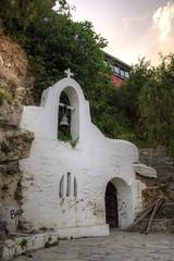 fishermans church (Tony Shertila) Tags: cliff painting geotagged europe cross bell outdoor religion greece crete cave fresco filmset grc agiosnikolaos fishermanschurch lakevoulismeni geo:lat=3519031806 geo:lon=2571698517