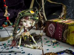 "Dark doll ""Intoxicating swamp"" (Ksyusha Pol'd) Tags: green fairytale woodland doll waterlily handmade ooak olympus fantasy swamp darkgreen artistdoll ooakdoll miniaturedoll poseabledoll matchboxdoll darkdol"