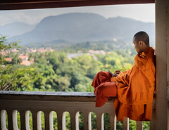 Monk - Mount Phu Si (regan.klemm) Tags: buddhist monk laos luang prubang