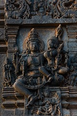 Shiva and Parvati (Padmanabhan Rangarajan) Tags: light india architecture temple golden dancers kingdom hinduism belur hoysala danceuse chennakesava