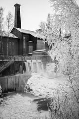 Old powerstation (Cattail_) Tags: snow ice monochrome river helsinki vanhankaupunginlahti dam vanhankaupunginkoski visithelsinki