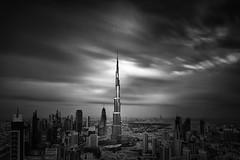 Burj Khalifa - Dubai (Waheed Akhtar Photography) Tags: city longexposure light sky blackandwhite bw art monochrome architecture clouds canon dark dubai shadows darkness fineart uae emirates unitedarabemirates bwphotography darklight burj fineartphotography blackandwhitephotography burjdubai longexposurephotography darkbw bwphotographer burjkhalifa mydubai waheedakhtar