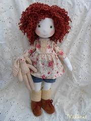 "Lidi - 46cm(18"") (Vikacat) Tags: bunny floral ginger lace jeans curly ragdoll handmadedoll clothdoll vikacat"