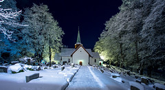 Haslum Kirke. Brum (cpphotofinish) Tags: blue winter light sky cold color colour fall church water weather oslo norway fog night clouds canon landscape outside eos norge photo foto image cloudy outdoor panoramic norwegian nordic dslr akershus bluelight haslum landskap bilde farger mk3 brum canonef speiling ef14mmf28lusm carstenpedersen mklll eos5dmk3 cpphotofinish annoyear1190
