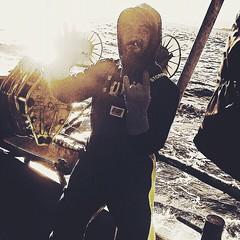 Rory Peloso rocking it on the San Antonios off Bass Straight in Australia. #commercialfishing #fishing #fishingaustralia #fishingtrawler #stormlinegear #stormline #wetweathergear #raingear #fishingclothing