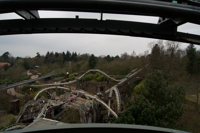 An overview of Nemesis from the top of Air's lift hill