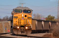 """Southbound Coal Train in Merriam, KS (""""Righteous"""" Grant G.) Tags: city railroad up train pacific south union railway trains kansas locomotive coal bnsf loaded southbound"""