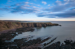 Cliffs at Dunottar Castle (EricHarden) Tags: longexposure blue sea seascape castle water clouds sunrise scotland aberdeenshire cliffs tokina stonehaven d300 dunottarcastle nd1000 1116mm zomei