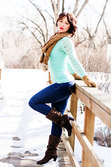 Gwen (Nathan Greninger) Tags: bridge light snow scarf colorado with boots serious hard denim leaning