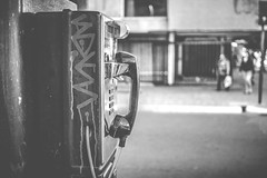 Hello? .. ! .. ? (Gonza.M) Tags: street urban white black public phone