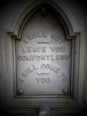 I will not leave you comfortless (Gerri Gray Photography) Tags: ny newyork monument cemetery grave graveyard memorial tomb upstate graves gravestone marker mementomori tombstones vignetting vignette zinc gravemarker taphophilia whitebronze gerrigray
