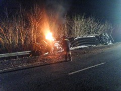 FIERY 18-WHEELER ROLLOVER SHUTS DOWN INTERSTATE 65 (cullmantoday) Tags: county fire crash accident alabama wheeler interstate 18 wreck 65 cullman semtrailer