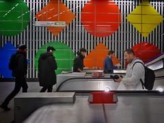 Four/One (Douguerreotype) Tags: city uk england people urban london stairs underground subway metro britain escalator tube steps tunnel gb british