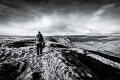 Winter walk (Matt Parry) Tags: winter blackandwhite walking mono peakdistrict walker valley backpack tramping edale niceweather hikinh mattparry canon5dmk3