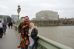 Craig and Ashleigh on Westminster bridge (ec1jack) Tags: uk winter england london tv europe britain doctorwho drwho february filming locations westminsterbridge 2016 kierankelly ec1jack canoneos600d