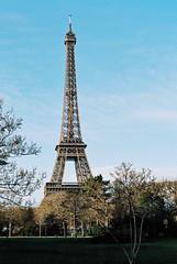 The Eiffel Towel in Paris (Alien Light Beam) Tags: winter paris france mamiya film colors europe kodak outdoor experience medium format portra f28 45mm 80mm photovision afd645