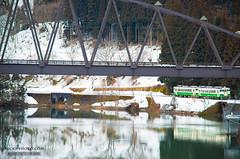 2016.Feb  @Fukushima, Japan (http://becky-photo.com) Tags: travel bridge winter lake snow green station japan train   fukushima     japanlandscape  aizukawaguchi