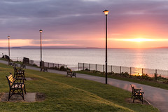 Sunset Benches (~g@ry~ (clevedon-clarks)) Tags: pink sunset clouds bench landscape golden coast soft victorian somerset calm coastal seafront f28 clevedon northsomerset 70200mm hitechfilters